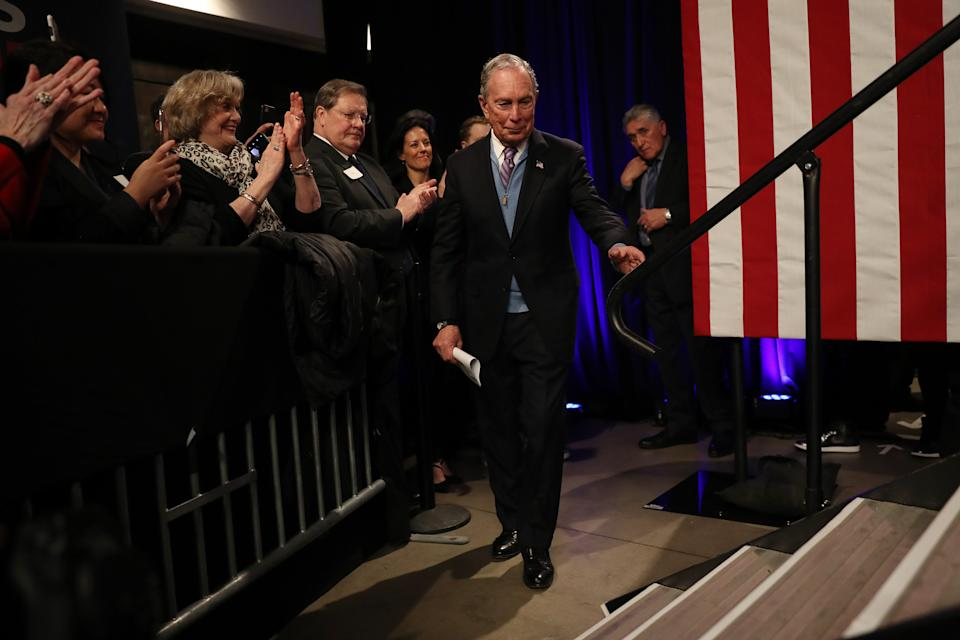 BENTONVILLE, AR - FEBRUARY 27: Democratic presidential candidate, former New York City mayor Mike Bloomberg arrives to speak during a rally held at the Record Downtown on February 27, 2020 in Bentonville, Arkansas. Bloomberg is campaigning before voting starts on Super Tuesday, March 3.   (Photo by Joe Raedle/Getty Images)