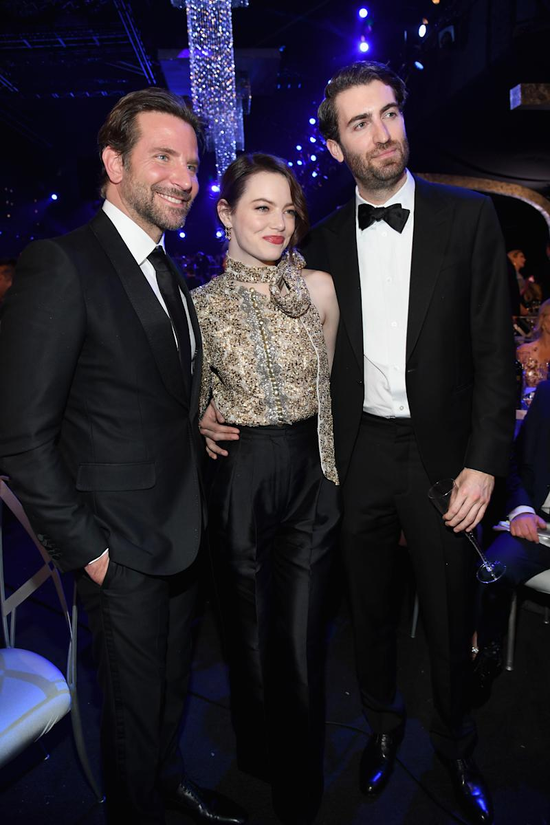 From left, Bradley Cooper, Emma Stone and Dave McCary pictured during the 25th Annual Screen Actors Guild Awards in January 2019. [Photo: Getty]