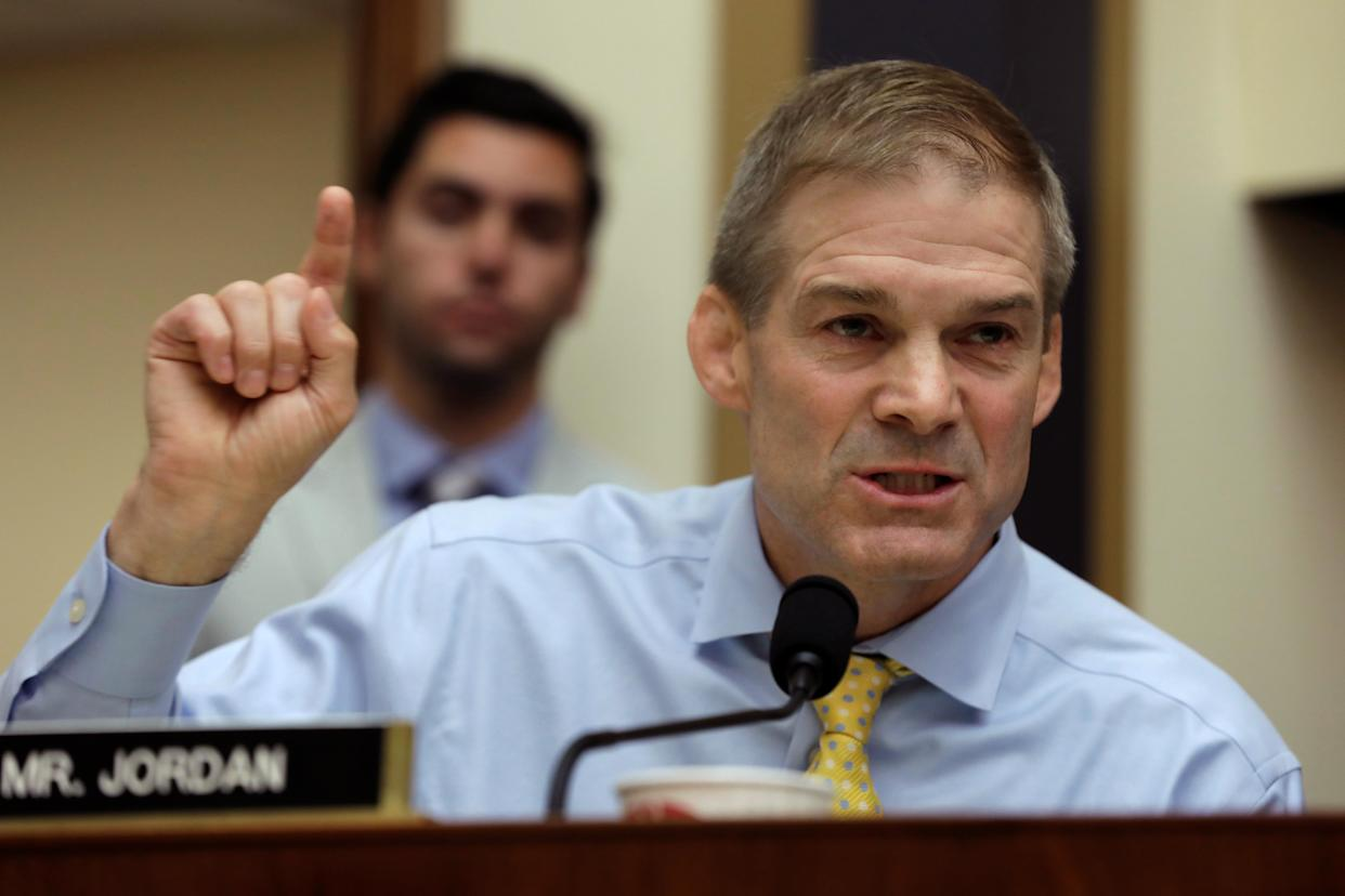 Rep. Jim Jordan questions Deputy Attorney General Rod Rosenstein at a hearing on Capitol Hill Thursday. (Yuri Gripas/Reuters)