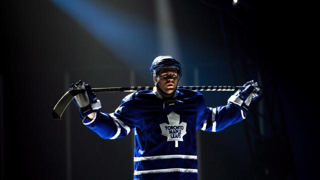 FILE - In this Sept. 11, 2013 file photo, Toronto Maple Leafs forward Phil Kessel takes part in a video production at the NHL opening day training camp in Toronto. The Maple Leafs and Kessel have agreed to terms on a $64-million, eight-year contract extension. The deal was signed just hours before the Maple Leafs' opener in Montreal on Tuesday night, Oct. 1, 2013. (AP Photo/The Canadian Press, Nathan Denette, File)