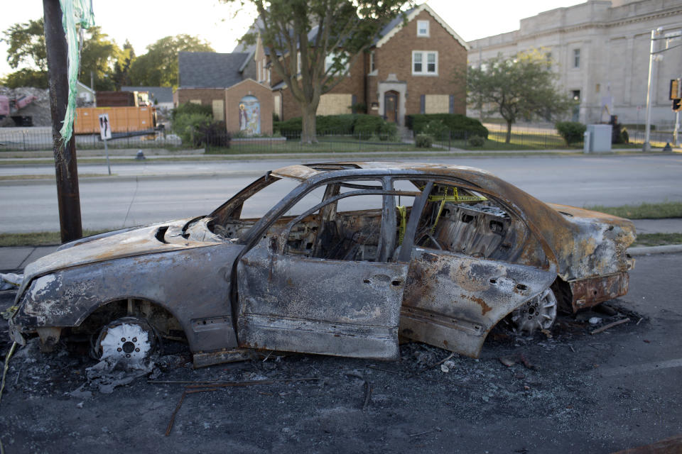 A week after rioting in response to the police shooting of Jacob Blake, the rubble of burned cars still decorate downtown, September 2, 2020 on Kenosha, Wisconsin. (Photo by Andrew Lichtenstein/Corbis via Getty Images)