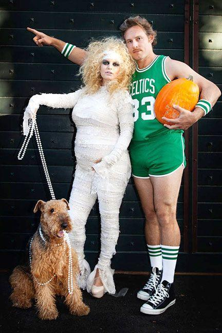 <p>As a mummy and a Celtics basketball player.</p>