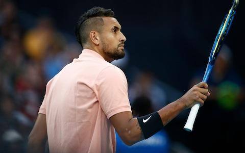 Kyrgios acknowledges the crowd after winning a point - Credit: GETTY IMAGES