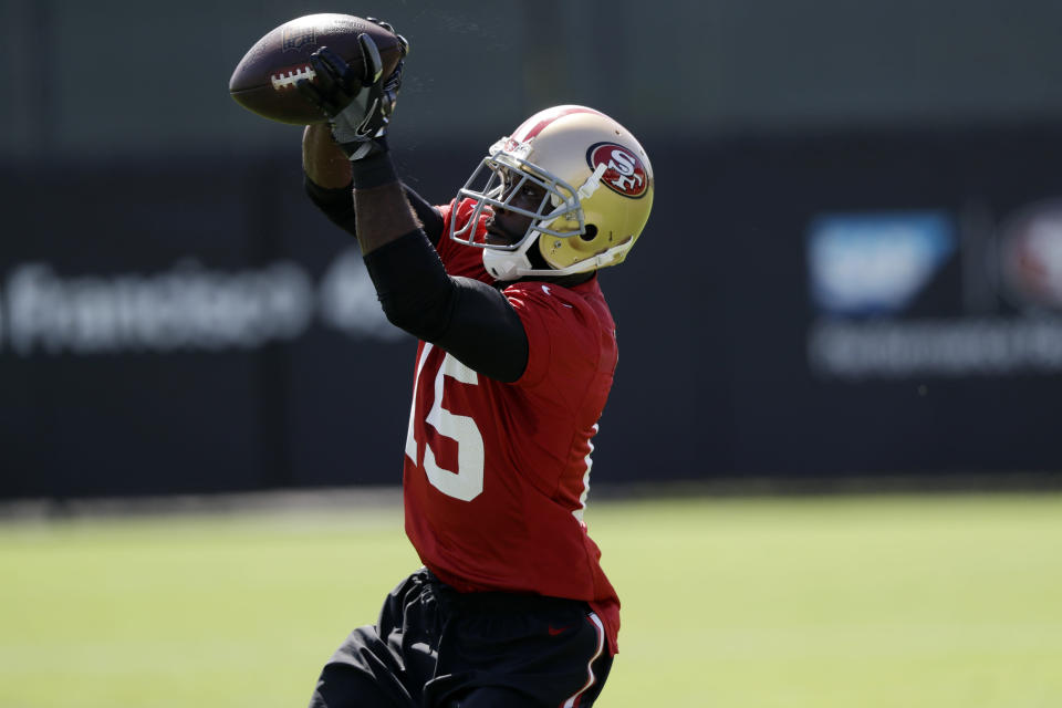 San Francisco 49ers receiver Pierre Garcon should bring plenty of fantasy value in PPR leagues after being reunited with Kyle Shanahan. (AP Photo/Marcio Jose Sanchez)
