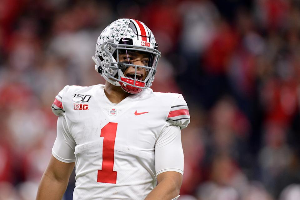 Where Justin Fields will be drafted and how he will pan out are two of the most intriguing questions in this draft. (Photo by Michael Allio/Icon Sportswire via Getty Images)