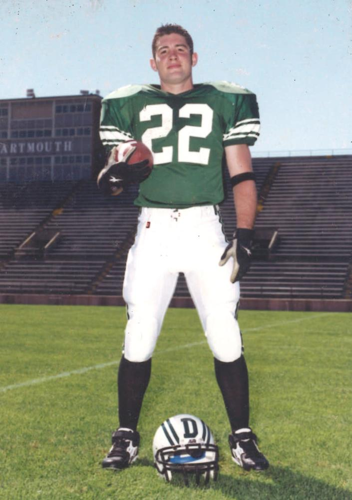 Patrick Risha during his years playing football for Dartmouth College (Photo via Karen Kinzle Risha)