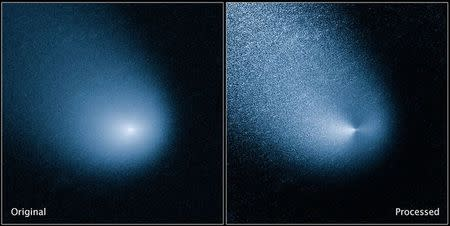 Comet C/2013 A1, also known as Siding Spring, is seen as captured by Wide Field Camera 3 on NASA's Hubble Space Telescope