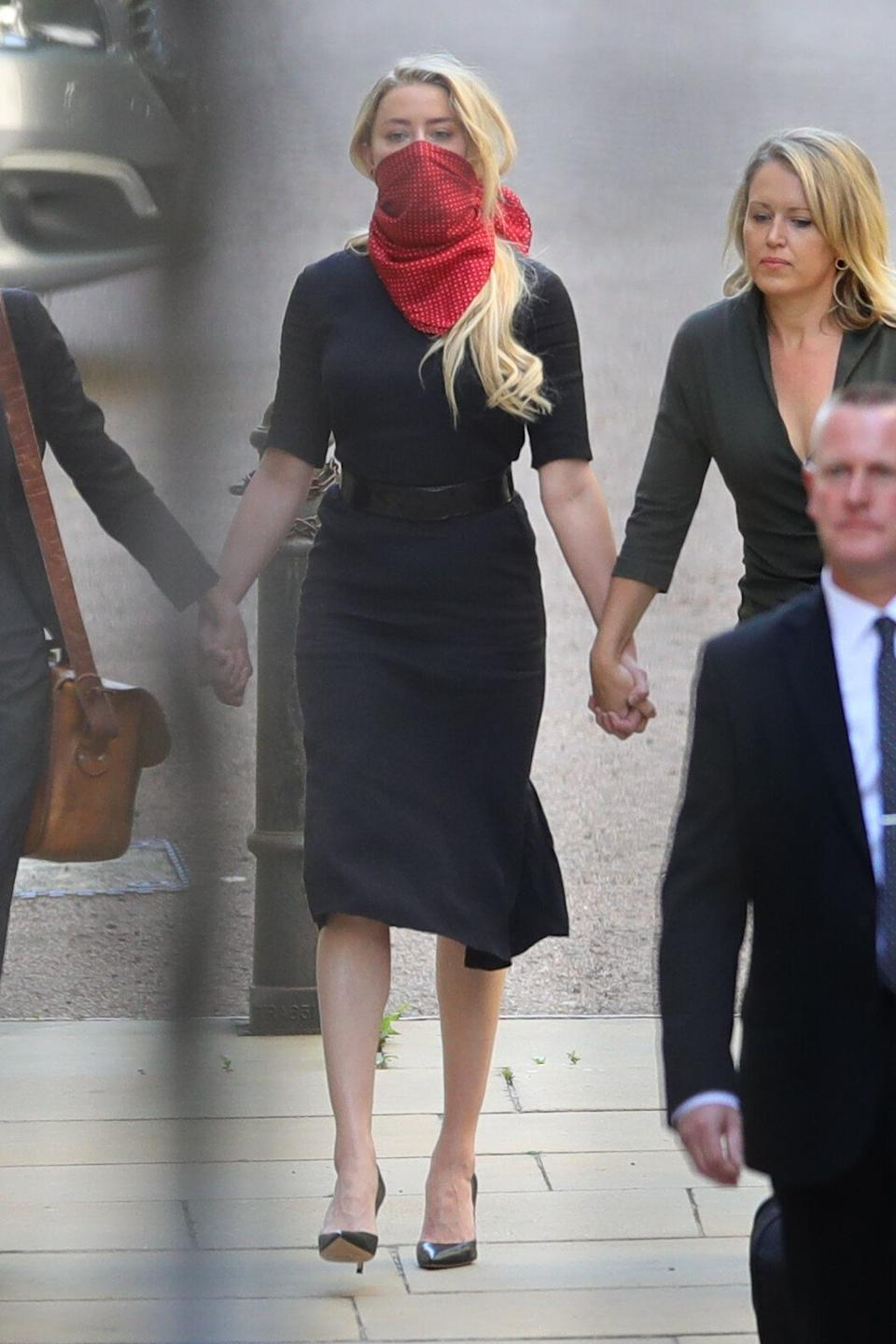 Amber Heard arriving in court on Tuesday (Photo: PA)