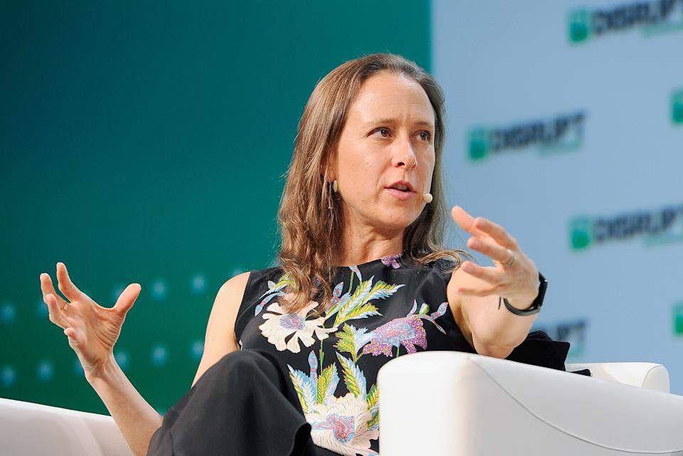 SAN FRANCISCO, CA - SEPTEMBER 05:  23andMe CEO Anne Wojcicki speaks onstage during Day 1 of TechCrunch Disrupt SF 2018 at Moscone Center on September 5, 2018 in San Francisco, California.  (Photo by Steve Jennings/Getty Images for TechCrunch)