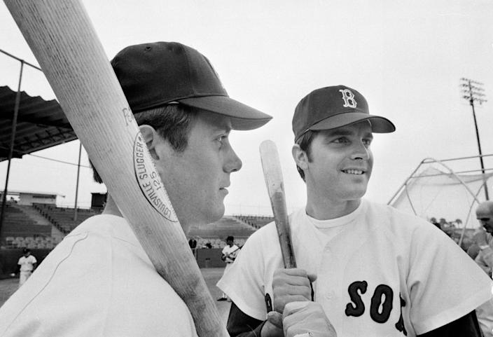 FILE - In this March 17, 1969 file photo, Brothers Billy Conigliaro, left, and Tony Conigliaro, of the Boston Red Sox appear together at an exhibition game in Winter Haven, Fla., March 17, 1969. Billy Conigliaro, the first-ever Red Sox draft pick who started out in the Boston outfield with star-crossed brother Tony and later spent years taking care of him after a heart attack, died Wednesday, Feb. 10, 2021. He was 73.. (AP Photo/Harry Harris, File)