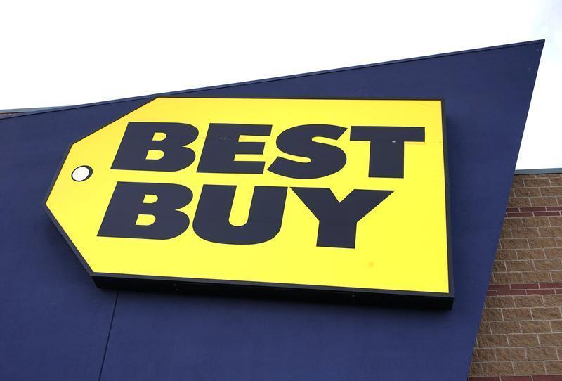 Company logo is seen on a Best Buy store in Westminster
