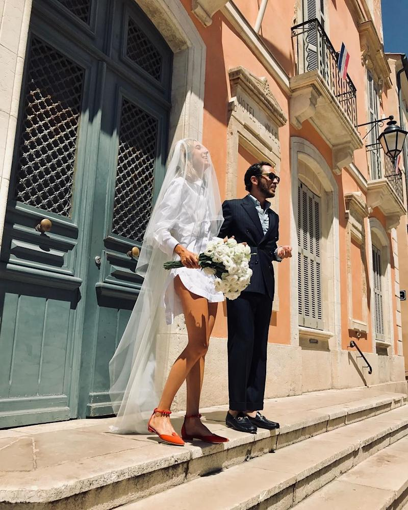 Seven years after meeting him at a club in Paris, the stylist and creative director Lolita Jacobs married Jean-Baptiste Talbourdet-Napoleone in Saint-Tropez, wearing a dress casually designed by her old pal Simon Porte Jacquemus.