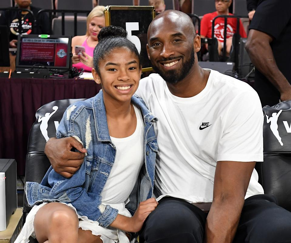 Gianna Bryant and her father, former NBA player Kobe Bryant, attend the WNBA All-Star Game 2019 at the Mandalay Bay Events Center on July 27, 2019 in Las Vegas, Nevada. (Photo by Ethan Miller/Getty Images)