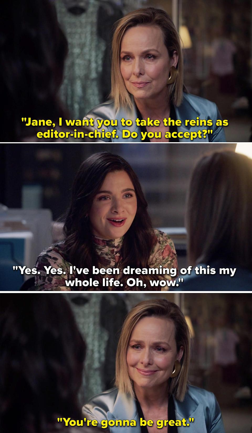 """Jacqueline telling Jane, """"I want you to take the reins as editor in chief. Do you accept?"""""""