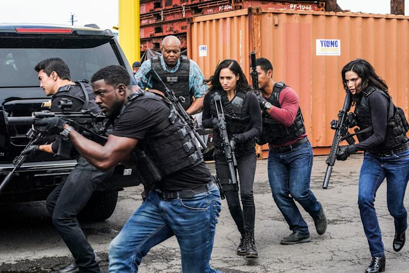 """Hail, hail (of bullets), the gang's all here: The elite Five-0 crime unit pursues suspects in the series finale of """"Hawaii Five-0."""""""
