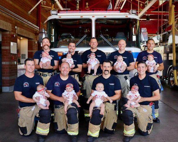 PHOTO: Rancho Cucamonga Fire District posted photos of 9 babies born to firefighters between March and July. (Rancho Cucamonga Fire District)