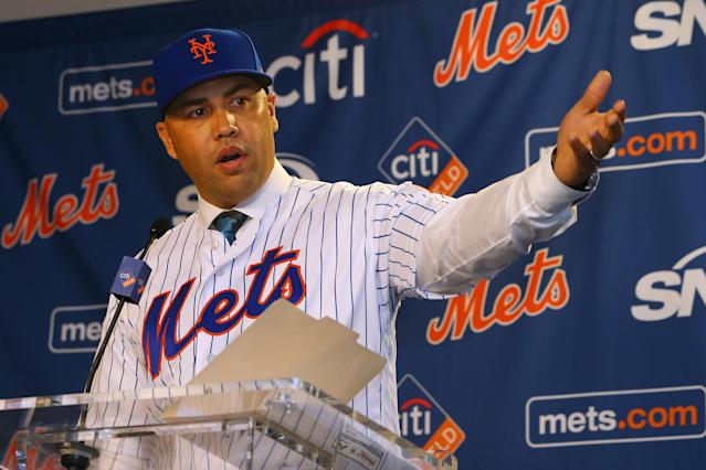 """Carlos Beltran talks after being introduced as manager of the <a class=""""link rapid-noclick-resp"""" href=""""/mlb/teams/ny-mets/"""" data-ylk=""""slk:New York Mets"""">New York Mets</a> during a press conference Monday at Citi Field. (Getty Images)"""