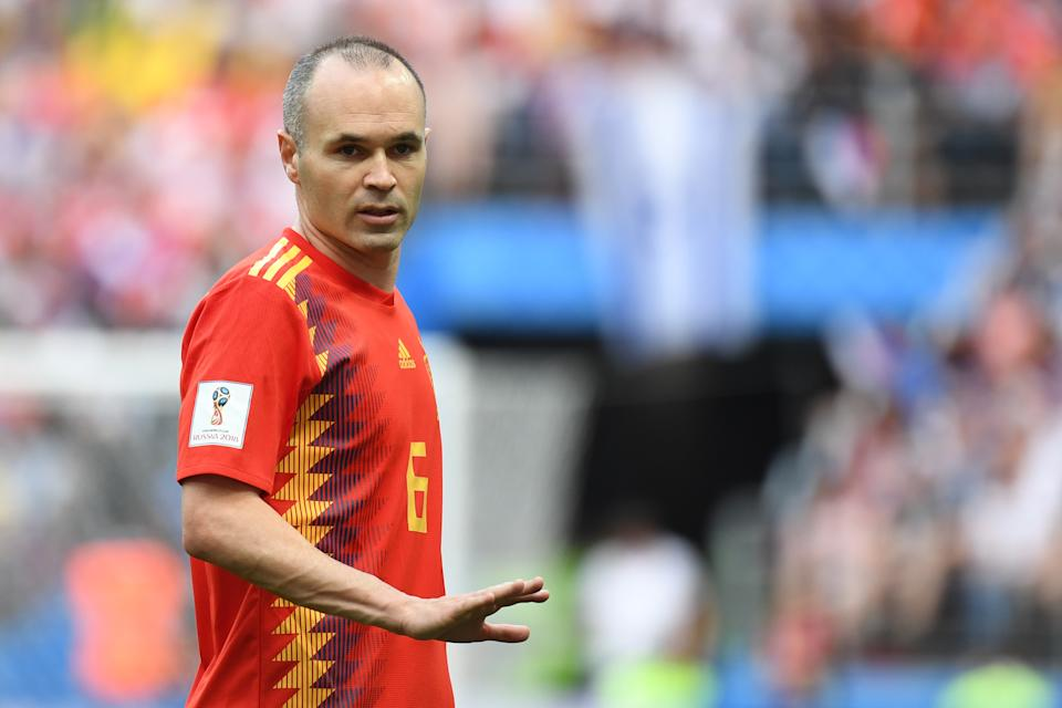 Spain's midfielder Andres Iniesta gestures during the Russia 2018 World Cup round of 16 football match between Spain and Russia at the Luzhniki Stadium in Moscow on July 1, 2018. (Photo by Kirill KUDRYAVTSEV / AFP) / RESTRICTED TO EDITORIAL USE - NO MOBILE PUSH ALERTS/DOWNLOADS        (Photo credit should read KIRILL KUDRYAVTSEV/AFP via Getty Images)