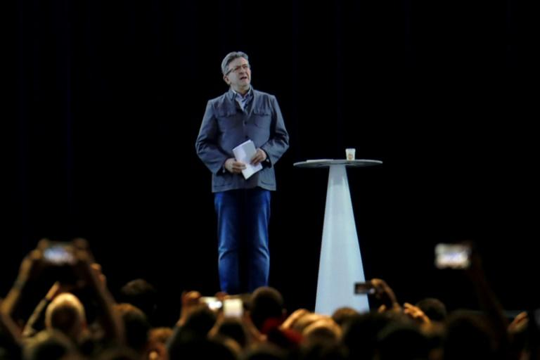 Jean-Luc Melenchon and his hologram appeared in Lyon and Paris at same time during a double live rally on February 5, 2017