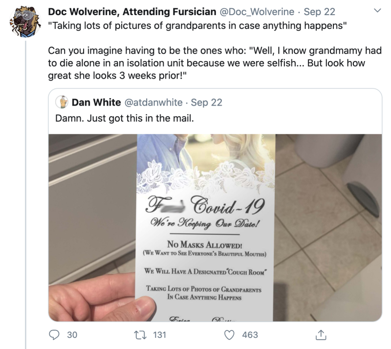 Tweet about wedding invitation