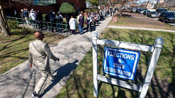 PHOTO: South Carolina voters stand in line for early voting at the Richland County Election Commission, Feb. 27, 2020 in Columbia, S.C. (Sean Rayford/Getty Images)