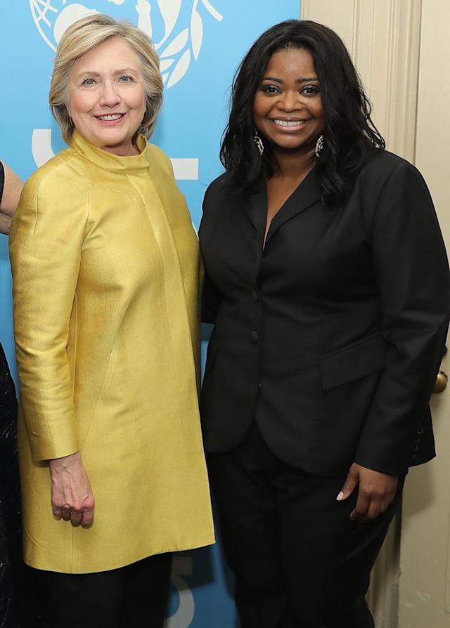 "<p><em>Hidden Figures</em> star Octavia Spencer got some love from the <em>What Happened</em> author at the UNICEF Snowflake Ball. While Spencer doesn't look embarrassed here, the actress later told Stephen Colbert on <em>The Late Show</em> that their meeting was <a href=""https://www.yahoo.com/tv/octavia-spencers-awkward-encounter-with-hillary-clinton-075023731.html"" data-ylk=""slk:somewhat awkward"" class=""link rapid-noclick-resp"">somewhat awkward</a> on her part. (Photo: Neilson Barnard/Getty Images for UNICEF) </p>"