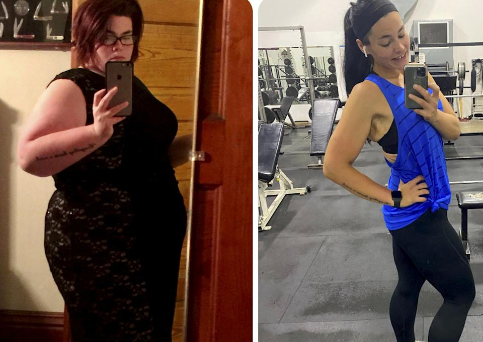 Kristen Bobo before and after her weightloss.