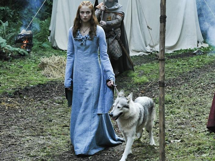"""Turner and her direwolf in """"Game of Thrones."""" <p class=""""copyright"""">HBO</p>"""