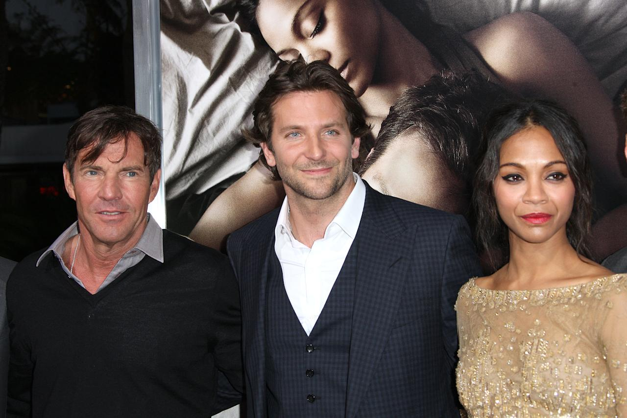"""HOLLYWOOD, CA - SEPTEMBER 04: (L-R) Actors Dennis Quaid, and Bradley Cooper, and actress Zoe Saldana attend the Premiere Of CBS Films' """"The Words"""" at the ArcLight Cinemas on September 4, 2012 in Hollywood, California.  (Photo by Frederick M. Brown/Getty Images)"""