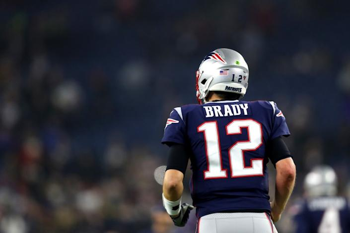 "Tom Brady has linked his brand to his jersey number, which he will be keeping as he switches from the New England Patriots to the Tampa Bay Buccaneers. <span class=""copyright"">(Maddie Meyer / Getty Images)</span>"