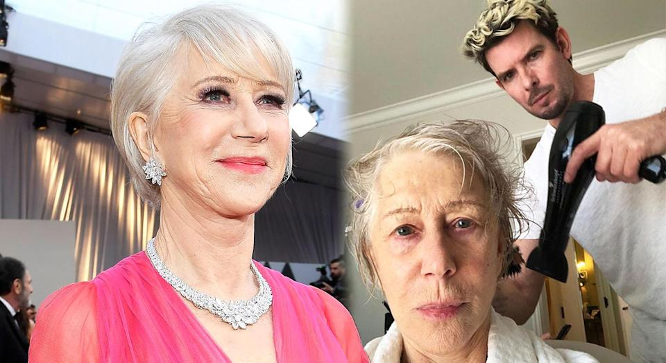 Helen Mirren, 73, getting her hair done for the Oscars, right, and left, after her transformation. [Photo: Instagram/Getty]