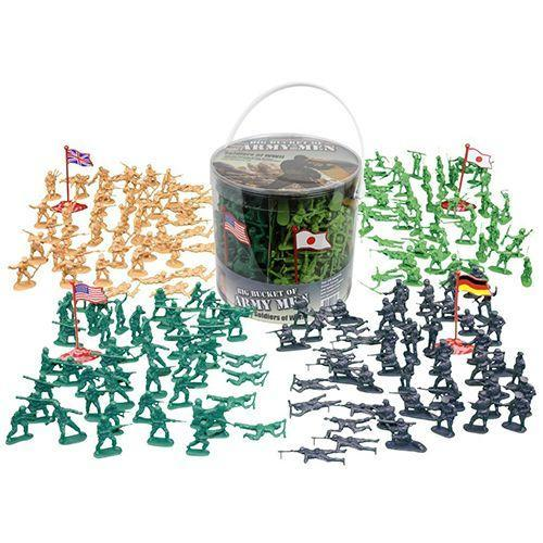 """<p><strong><em>Army Men Action Figures 200-Piece Set</em></strong><strong><em>, $20</em></strong> <a class=""""link rapid-noclick-resp"""" href=""""https://www.amazon.com/Action-Figures-soldiers-Bucket-Soldiers/dp/B00BT5JBVY?tag=syn-yahoo-20&ascsubtag=%5Bartid%7C10050.g.35033504%5Bsrc%7Cyahoo-us"""" rel=""""nofollow noopener"""" target=""""_blank"""" data-ylk=""""slk:BUY NOW"""">BUY NOW</a></p><p>The first American plastic toy soldiers were made in 1938. Following World War II, Army men figurines were sold in a green color to match the United States Army uniforms. The inexpensive toys can be set up in a variety of ways, encouraging creativity (and patriotism).</p>"""