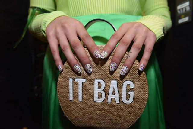 "<p>When you're carrying an ""It Bag,"" you need statement nail art. (Photo: KISS Products, Inc.) </p>"
