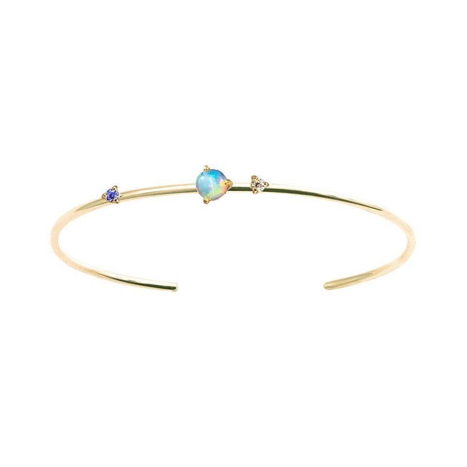 """<p><strong>WWAKE</strong></p><p>wwake.com</p><p><strong>$807.00</strong></p><p><a href=""""https://wwake.com/collections/bracelets/products/three-stone-opal-cuff"""" rel=""""nofollow noopener"""" target=""""_blank"""" data-ylk=""""slk:Shop Now"""" class=""""link rapid-noclick-resp"""">Shop Now</a></p><p>WWAKE's precious stones and metals are ethically sourced from Malawi, Colombia, India, Sri Lanka, Australia, China, Colombia, Peru, and North America. Designer Wing Yau works directly with the miners, prioritizing the social development of the communities that support her business while creating beautiful pieces in the process.</p>"""