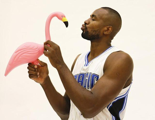Of course Serge Ibaka is kissing a flamingo. (AP)