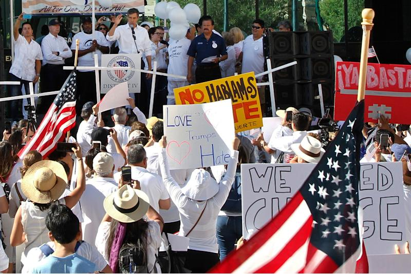 """Democratic presidential candidate and former Texas Rep. Beto O'Rourke speaks at the League of United Latin American Citizens' """"March For a United America,"""" in El Paso, Texas, on Saturday, Aug. 10, 2019. More than 100 people marched through the Texas border denouncing racism and calling for stronger gun laws one week after several people were killed in a mass shooting that authorities say was carried out by a man targeting Mexicans. (AP Photo/Cedar Attanasio)"""