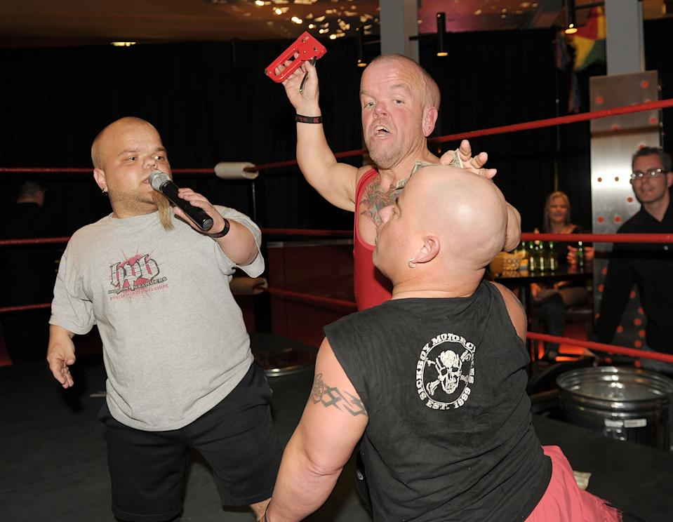Half Pint Brawlers wrestle at Tacos & Tequila at the Luxor on May 5, 2011 in Las Vegas, Nevada. (Photo by Denise Truscello/WireImage)