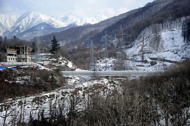A photo taken on a press tour on February 17, 2012 shows a pipeline near the Russian ski resort of Krasnaya Polyana , some 50 kms from the Russian Black Sea resort of Sochi, venue of the 2014 Winter Olympics games. Russian government officials have brushed off concerns over corruption and delays to insist the venues hosting the 2014 Olympic Games in Sochi will be completed well ahead of schedule. The first Olympic Games to be held in Russia since the boycott-hit Moscow Games in 1980 should herald another step forward on sport's world stage for the former Soviet Union. AFP PHOTO / OLIVIER MORIN (Photo credit should read OLIVIER MORIN/AFP/Getty Images)