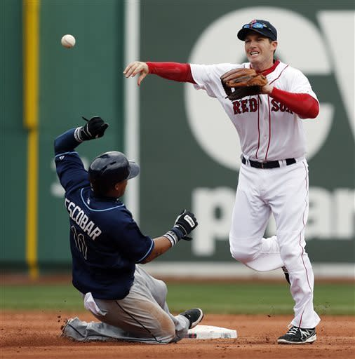Tampa Bay Rays' Yunel Escobar (11) is forced out at second base as Boston Red Sox's Stephen Drew throws to first for a double play on the Rays' Ryan Roberts in the seventh inning of a baseball game in Boston, Saturday, April 13, 2013. (AP Photo/Michael Dwyer)