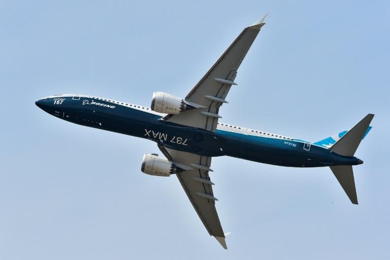 The Boeing 737 Max 9 soars overhead at the Paris air show in 2017