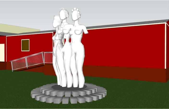 """A rendering for """"The Mothers of Gynecology"""" sculpture."""