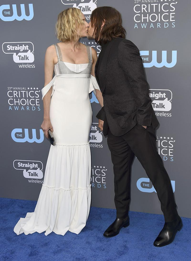 Diane Kruger and Norman Reedus Share Their First Red Carpet Kiss at Critics' Choice
