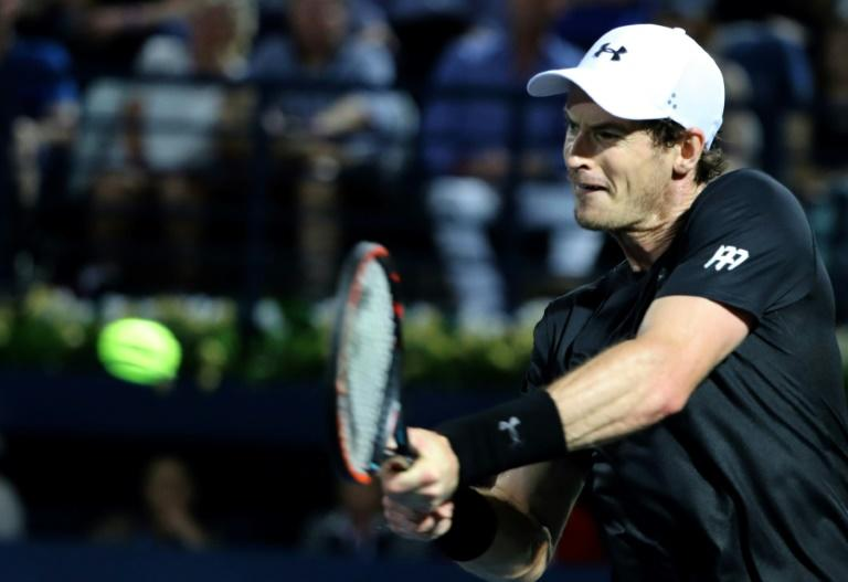 World number one Andy Murray of Great Britain returns the ball to Spain's Fernando Verdasco during their ATP final tennis match, as part of the Dubai Duty Free Championships on March 4, 2017