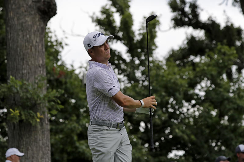 Justin Thomas watches his tee shot on the third hole during the second round of the BMW Championship golf tournament at Medinah Country Club, Friday, Aug. 16, 2019, in Medinah, Ill. (AP Photo/Nam Y. Huh)