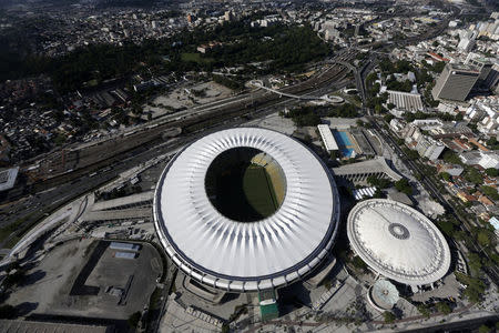 An aerial shot shows the Maracana stadium, one of the stadiums hosting the 2014 World Cup soccer matches, in Rio de Janeiro March 28, 2014. REUTERS/Ricardo Moraes