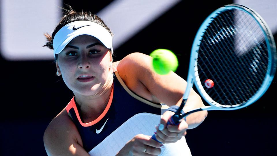 Pictured here, Bianca Andreescu hits a backhand at the 2021 Australian Open.