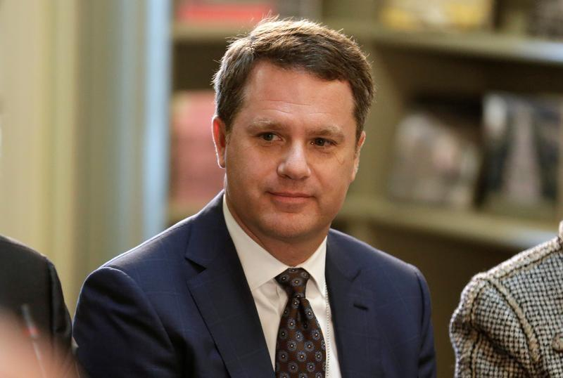 President and CEO of Walmart Doug McMillon takes part in a strategic and policy CEO discussion with U.S. President Donald Trump in the Eisenhower Execution Office Building in Washington