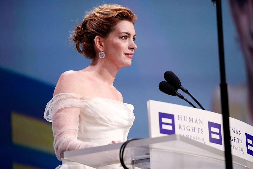 Anne Hathaway speaks at the 22nd annual Human Rights Campaign National Dinner. (Photo: Getty Images)