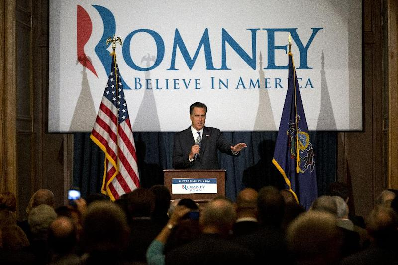 Republican presidential candidate, former Massachusetts Gov. Mitt Romney gestures during a fundraising event at the Union League, Friday, Sept. 28, 2012, in Philadelphia.  (AP Photo/ Evan Vucci)