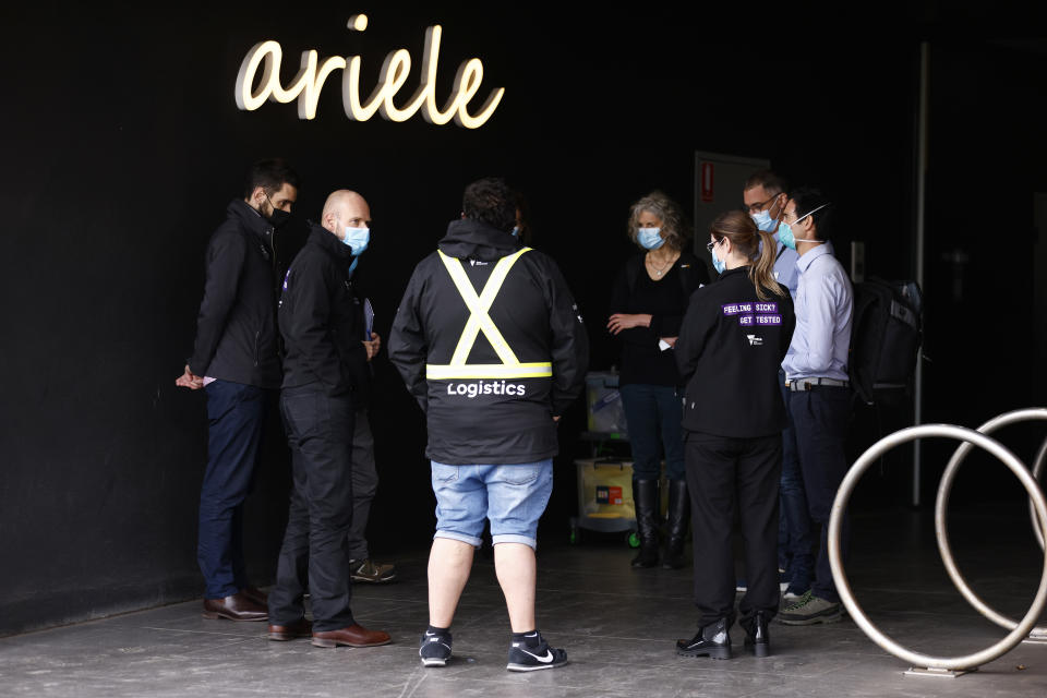 The Ariele Apartments in Maribyrnong, Melbourne, have been locked down after a covid positive Sydney-based removalist team visited the site. Source: AAP